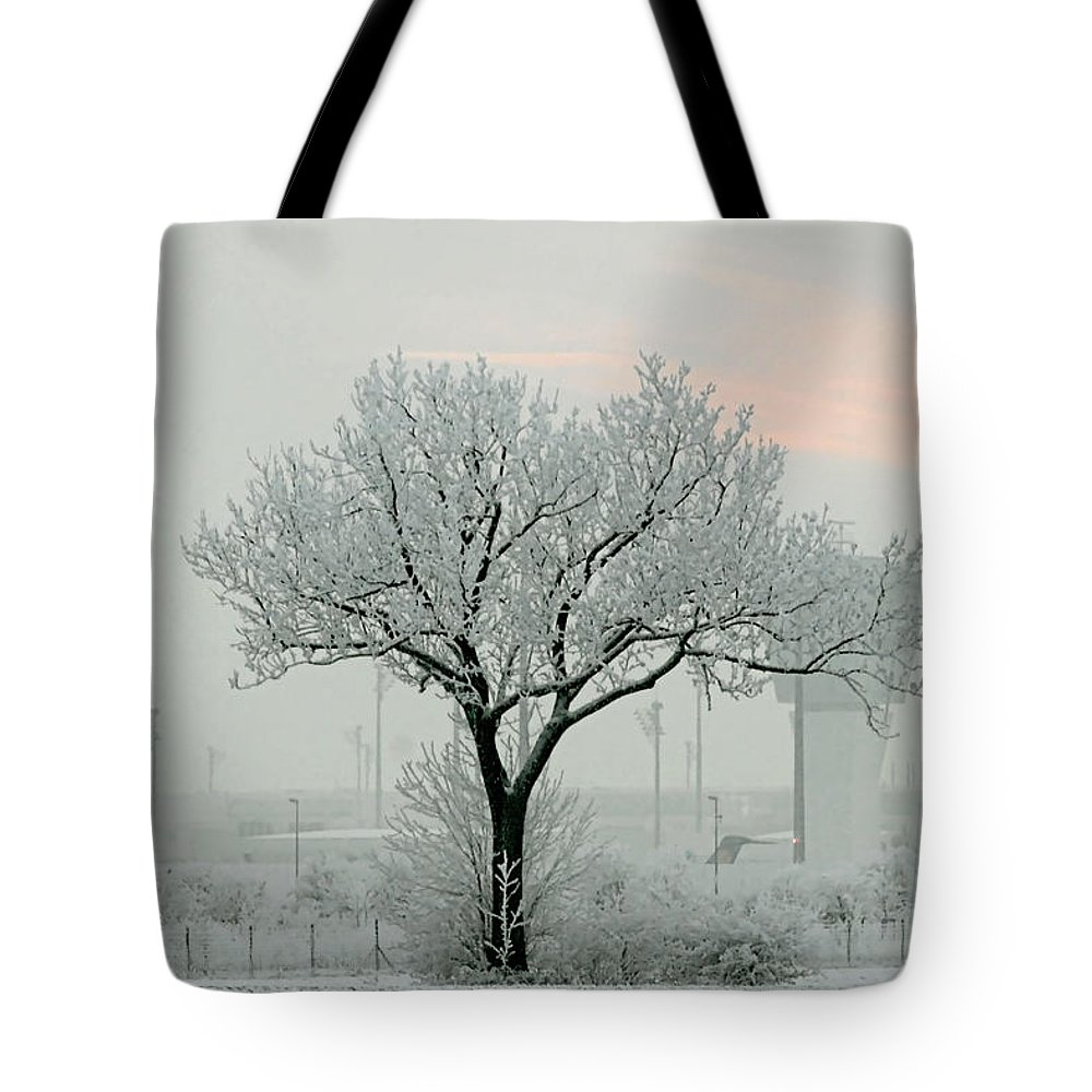 White Tote Bag featuring the photograph Eerie Days by Christine Till