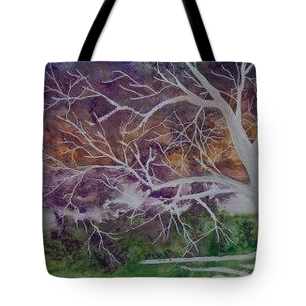 Watercolor Tote Bag featuring the painting Eerie Gothic Landscape Fine Art Surreal Print by Derek Mccrea