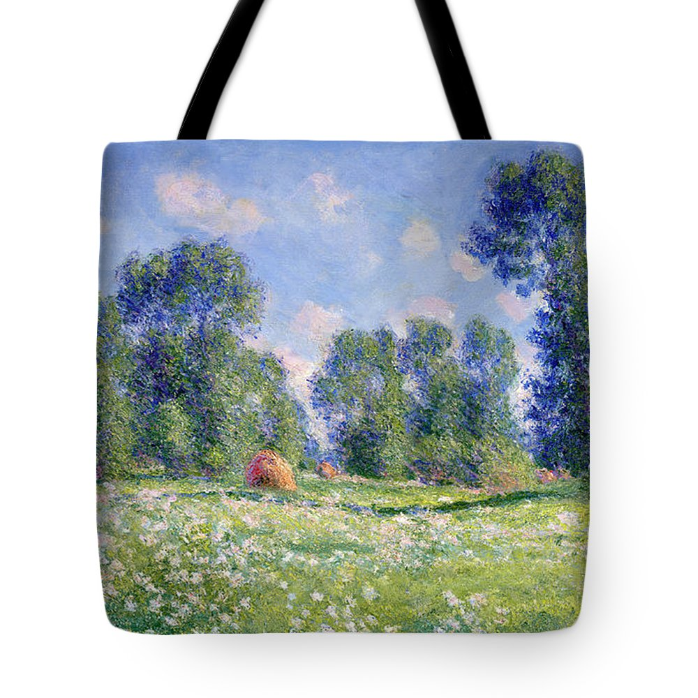 Effect Of Spring Tote Bag featuring the painting Effect of Spring at Giverny by Claude Monet