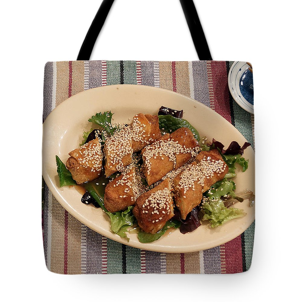 Egg Rolls Tote Bag featuring the digital art Egg Rolls And Sesame by Jana Russon