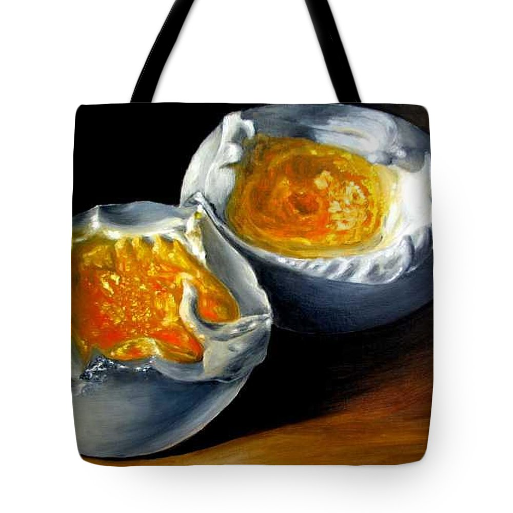 Eggs Tote Bag featuring the painting Eggs Contemporary Oil Painting On Canvas by Natalja Picugina