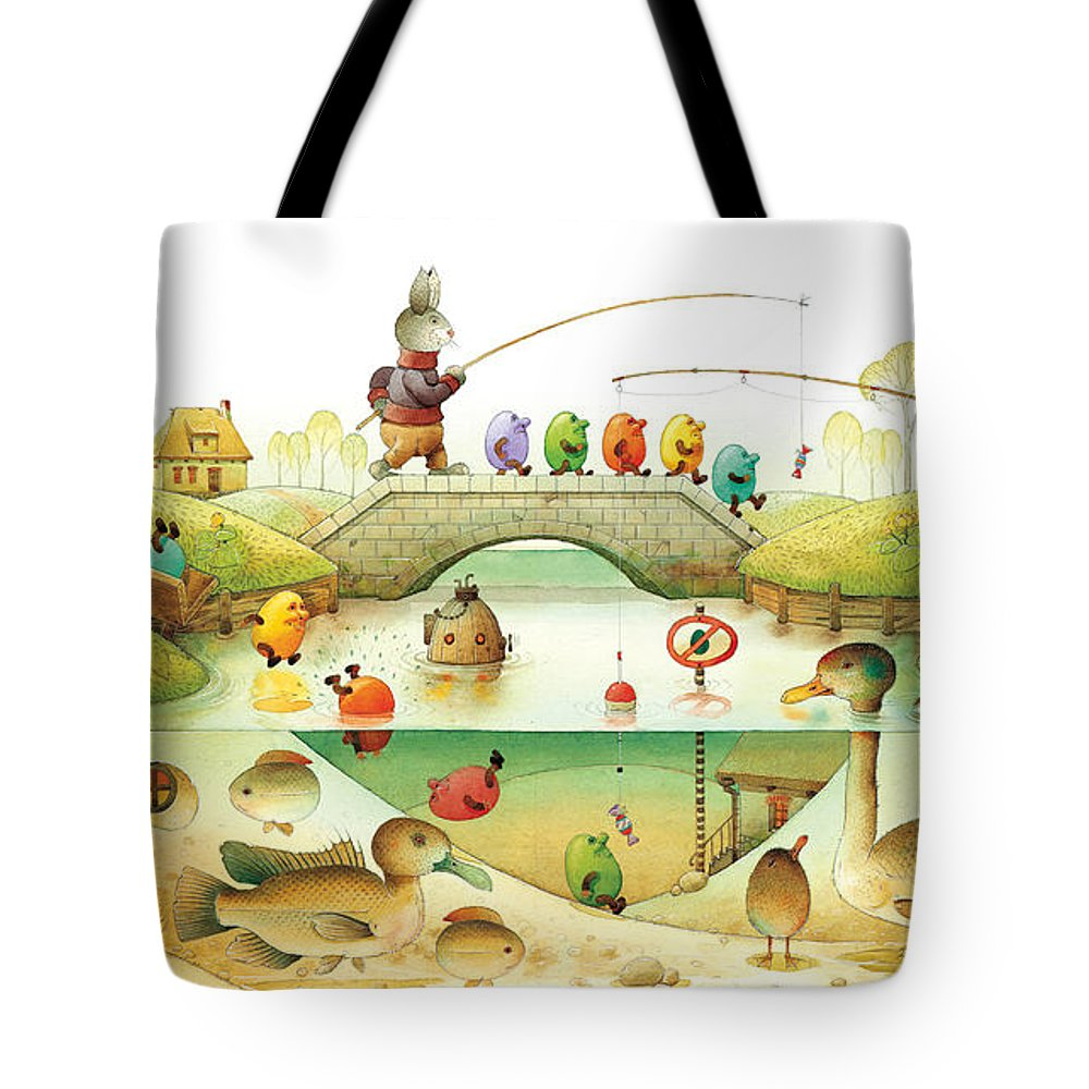 Eggs Easter Rabbit Tote Bag featuring the painting Eggstown by Kestutis Kasparavicius