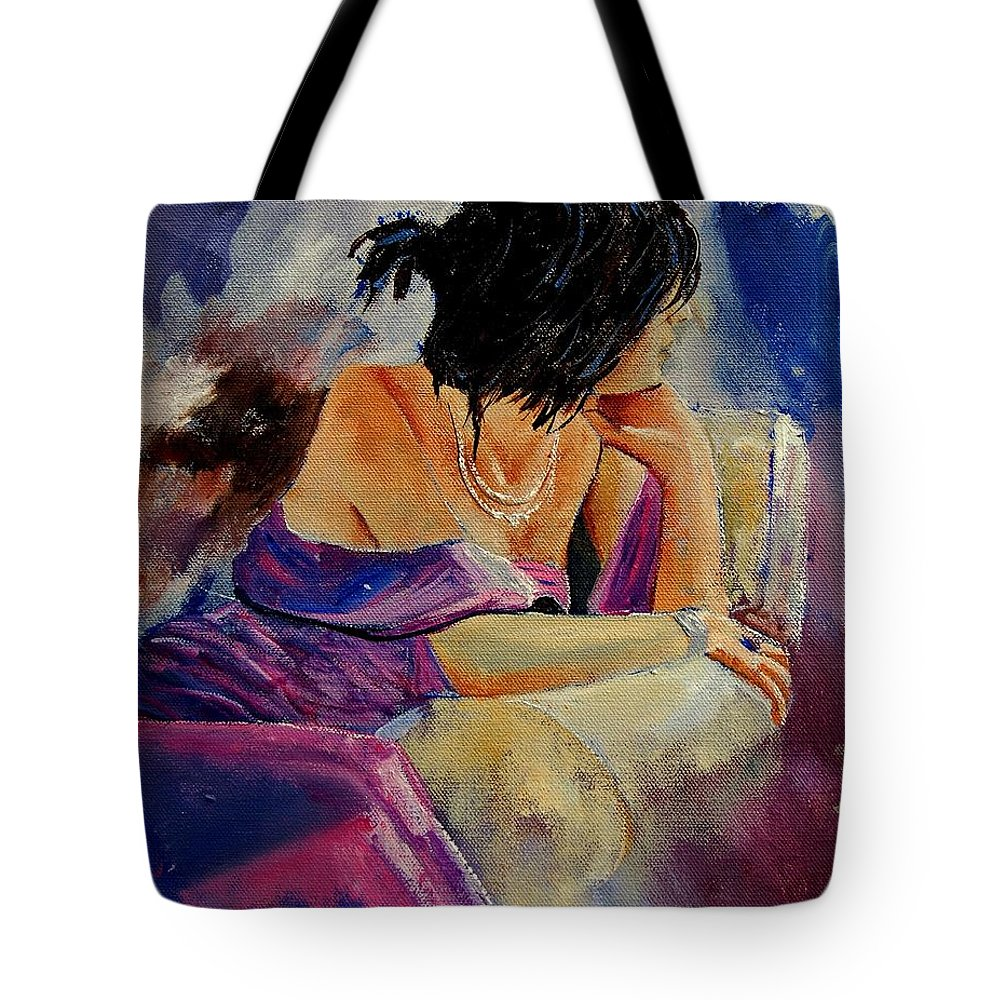 Woman Tote Bag featuring the painting Eglantine by Pol Ledent