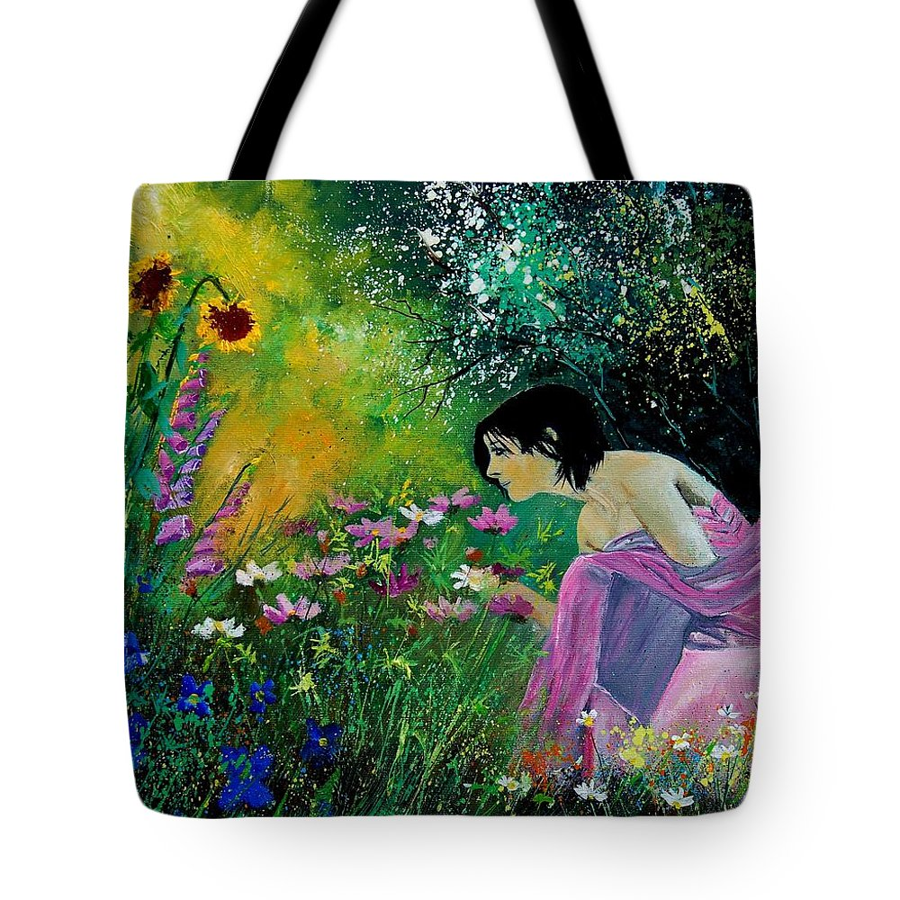 Flowers Tote Bag featuring the painting Eglantine With Flowers by Pol Ledent