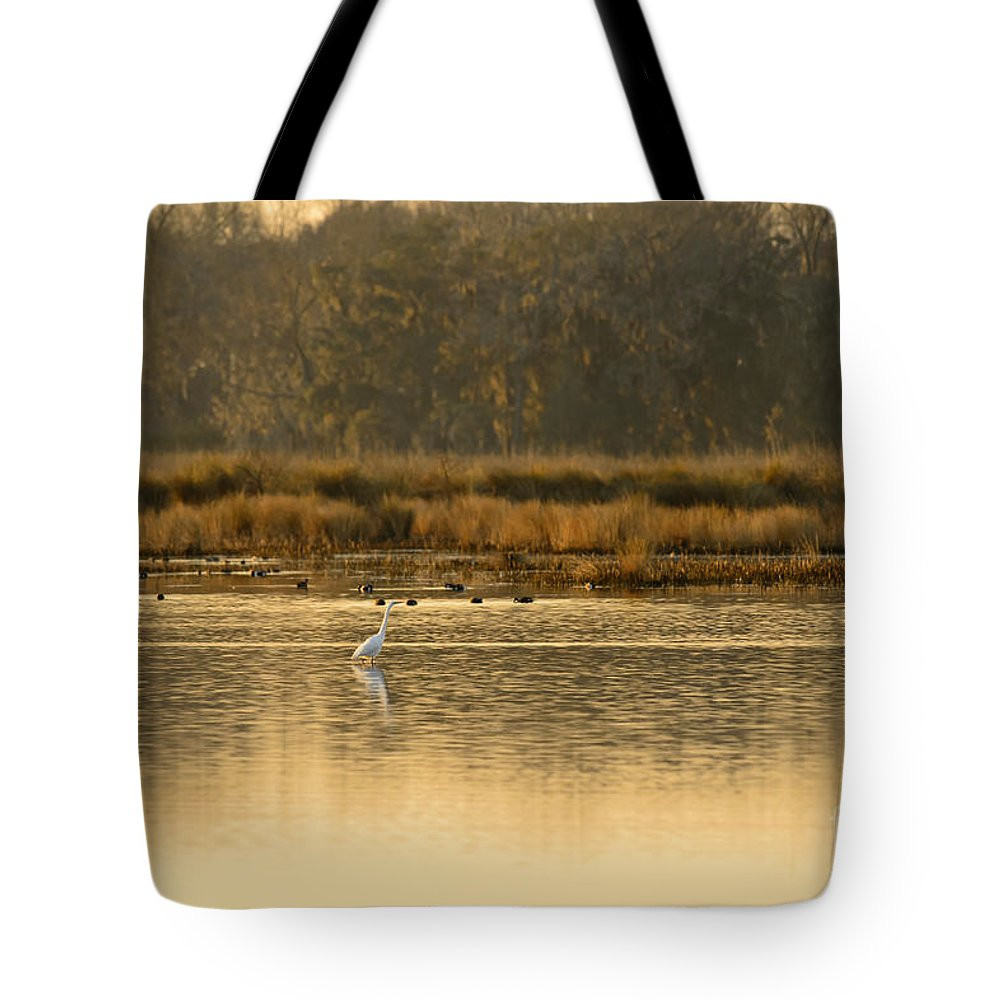 White Tote Bag featuring the photograph Egret In The Low Country by Chip Laughton