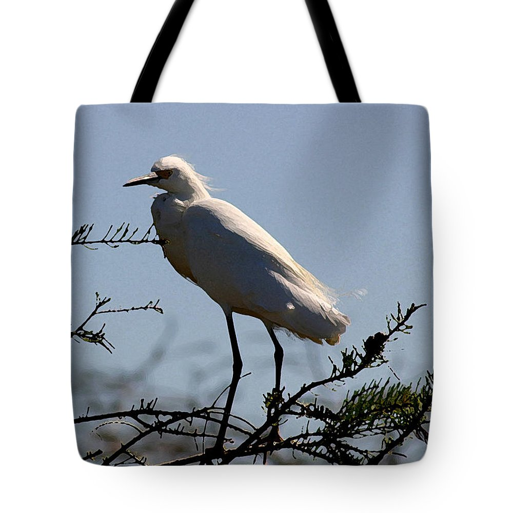 Egret Tote Bag featuring the photograph Egret by Mary Haber