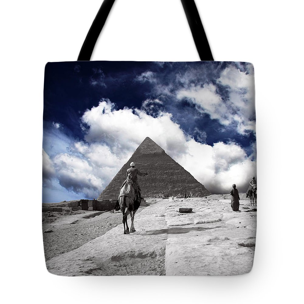 Egypt Tote Bag featuring the photograph Egypt - Clouds Over Pyramid by Munir Alawi
