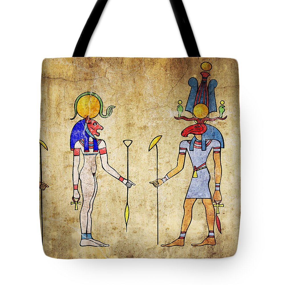 Egypt Tote Bag featuring the digital art Egyptian Gods And Goddess by Michal Boubin