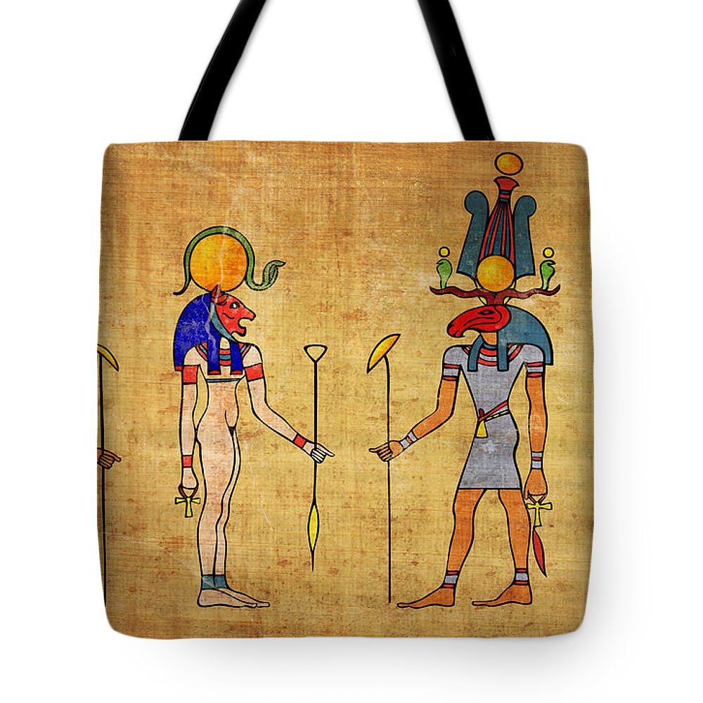 Egypt Tote Bag featuring the digital art Egyptian Gods And Goddness by Michal Boubin