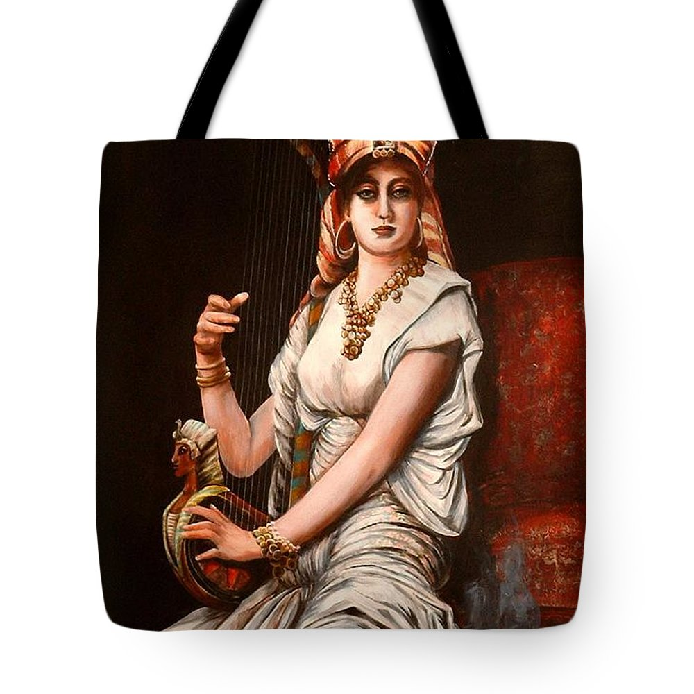 Portrait Of Women Tote Bag featuring the painting Egyptian Lady With Harp by Patricia Rachidi