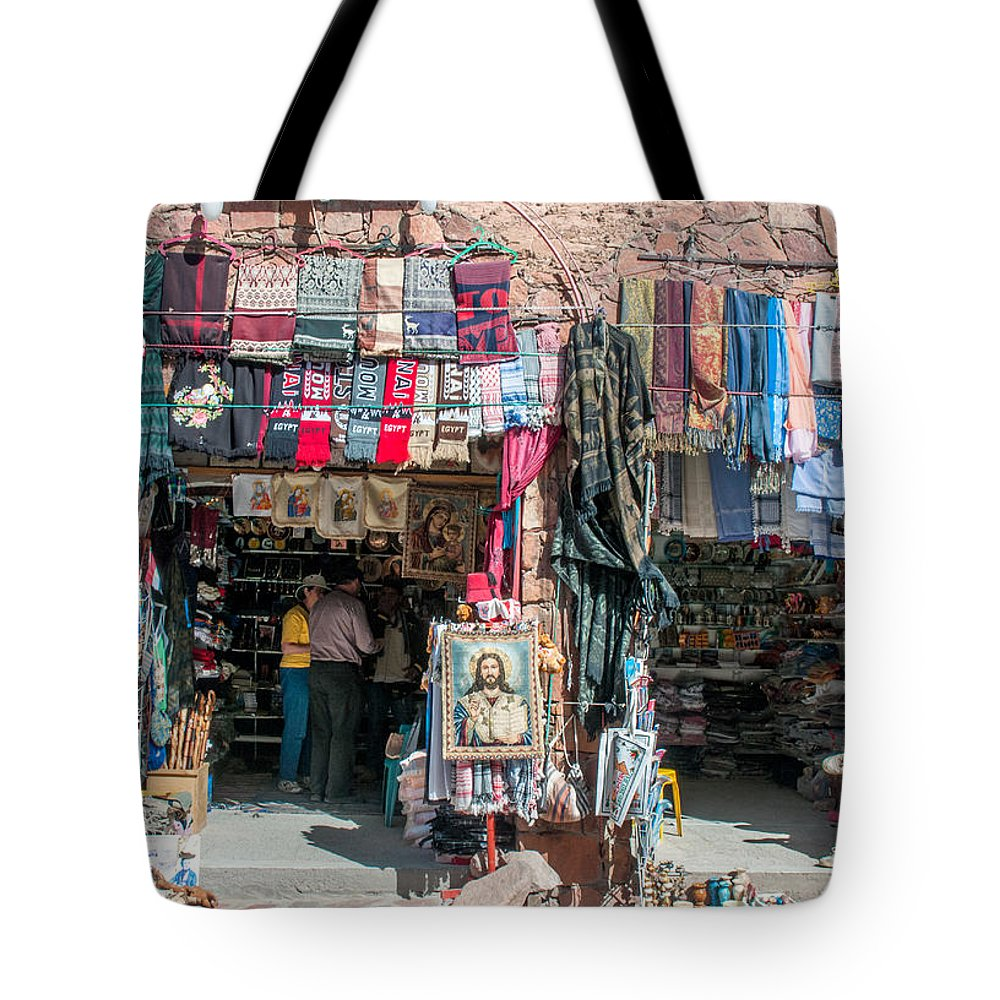 Arab Tote Bag featuring the photograph Egyptian Tourist Shops by Roy Pedersen