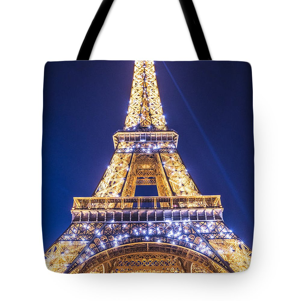 Europe Tote Bag featuring the photograph Eiffel Tower At Dusk. by Mike Young
