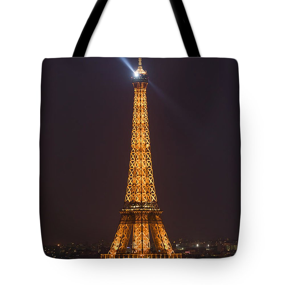 Clarence Holmes Tote Bag featuring the photograph Eiffel Tower At Night by Clarence Holmes