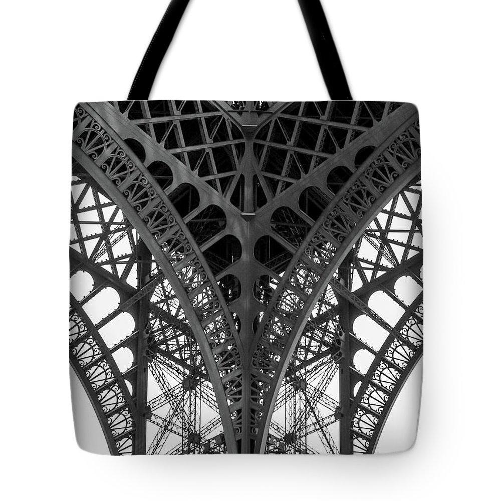 Paris Tote Bag featuring the photograph Eiffel Tower Leg by Hh Vv