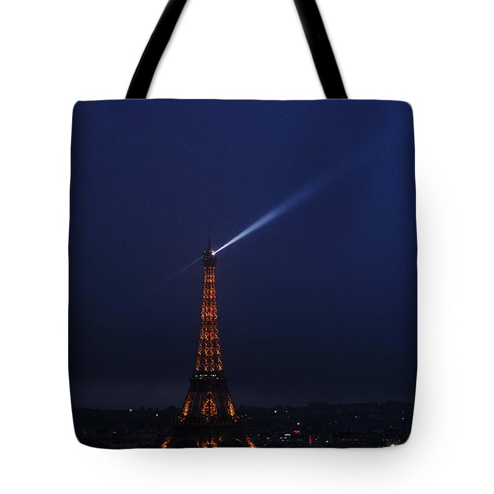 Europe Tote Bag featuring the photograph Eiffel Tower Spotlight Paris France 2 by Lawrence S Richardson Jr