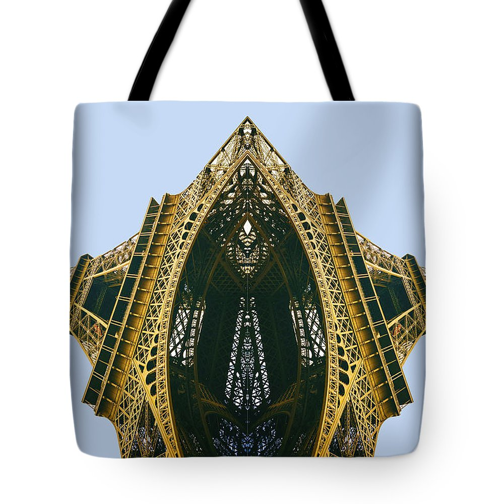 Floating Tote Bag featuring the pyrography Eiffel Tower by Tony Rubino