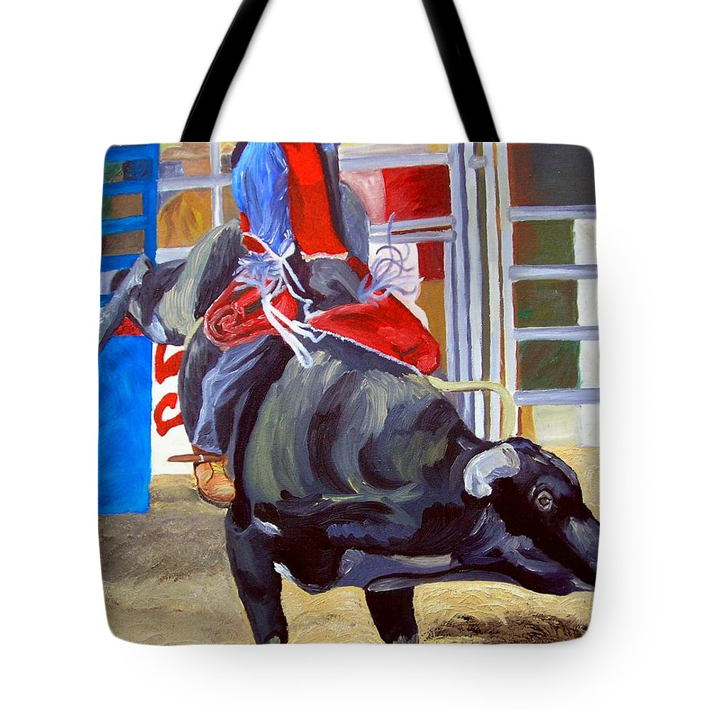 Bull Riding Tote Bag featuring the painting Eight Long Seconds by Michael Lee