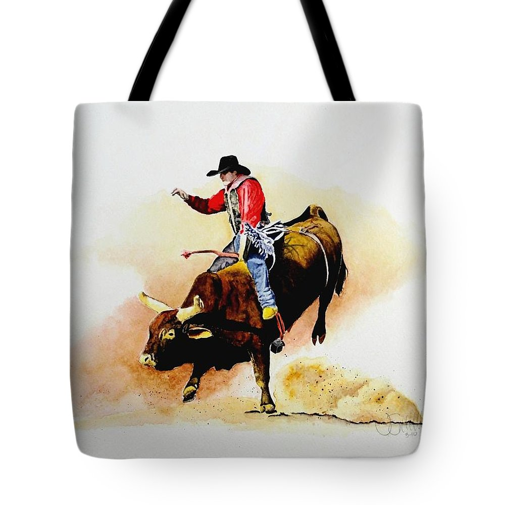Cowboy Tote Bag featuring the painting Eight Second Shift by Jimmy Smith