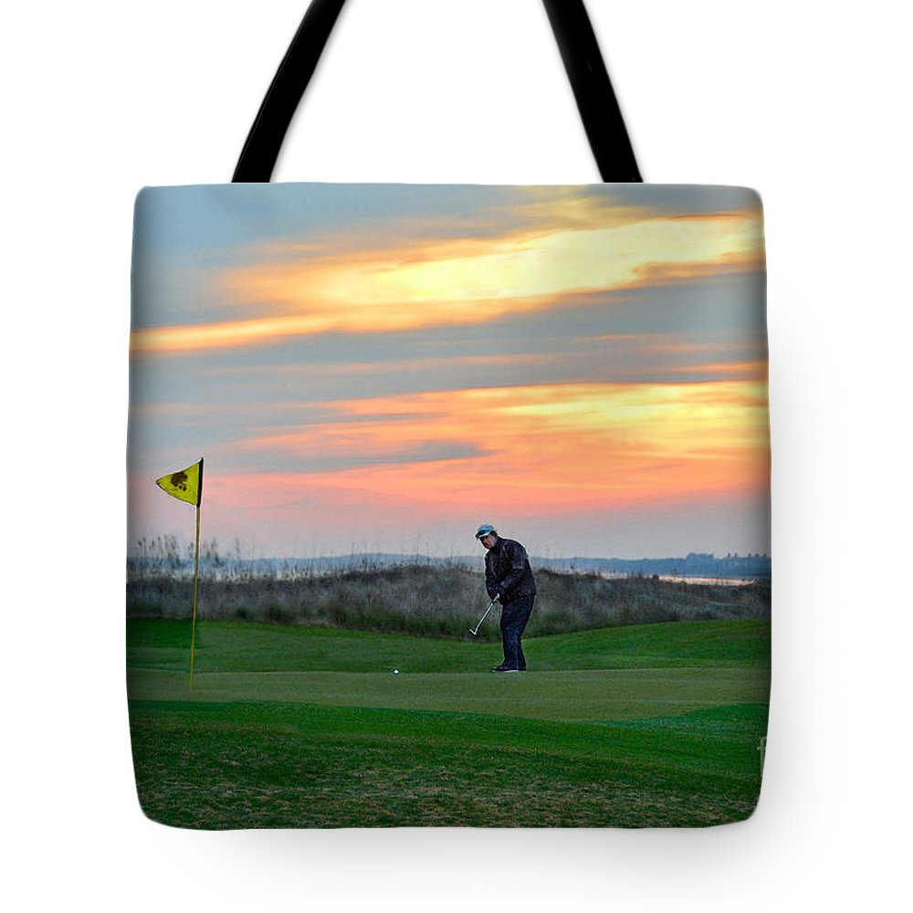 Golf Course Tote Bag featuring the photograph Eighteenth Green At Sunset by Catherine Sherman