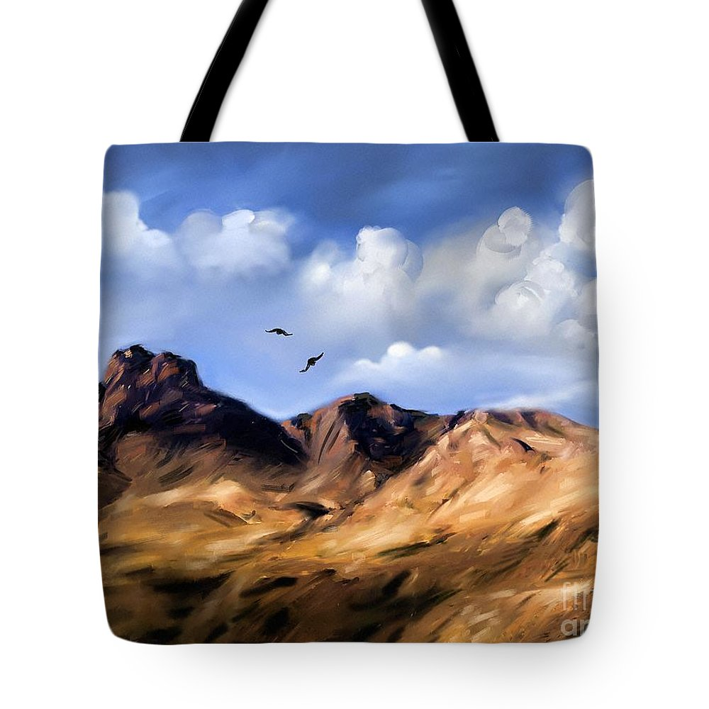 Blue Tote Bag featuring the painting El Capitan by Artist ForYou