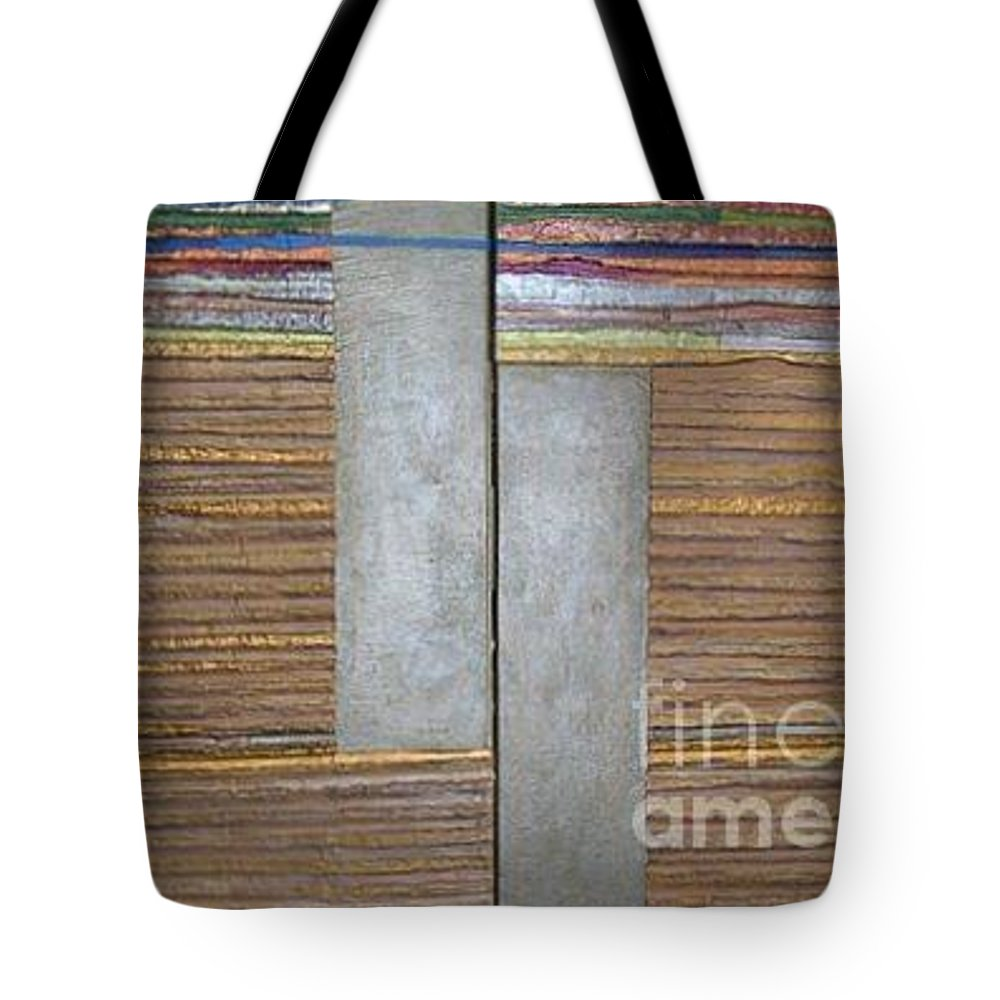 Metallic Tote Bag featuring the mixed media El Duo by Marlene Burns