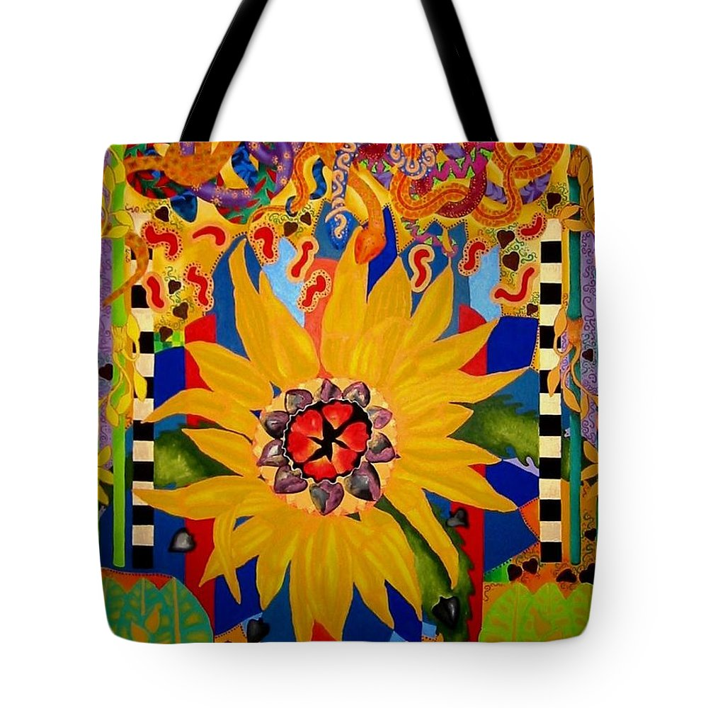 Sunflower Tote Bag featuring the painting El Girasol by Elizabeth Elequin