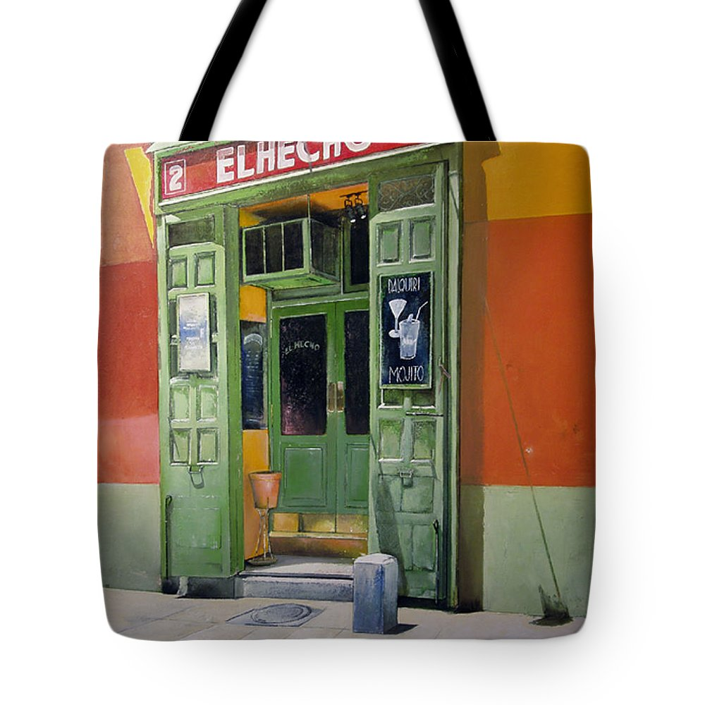 Hecho Tote Bag featuring the painting El Hecho Pub by Tomas Castano