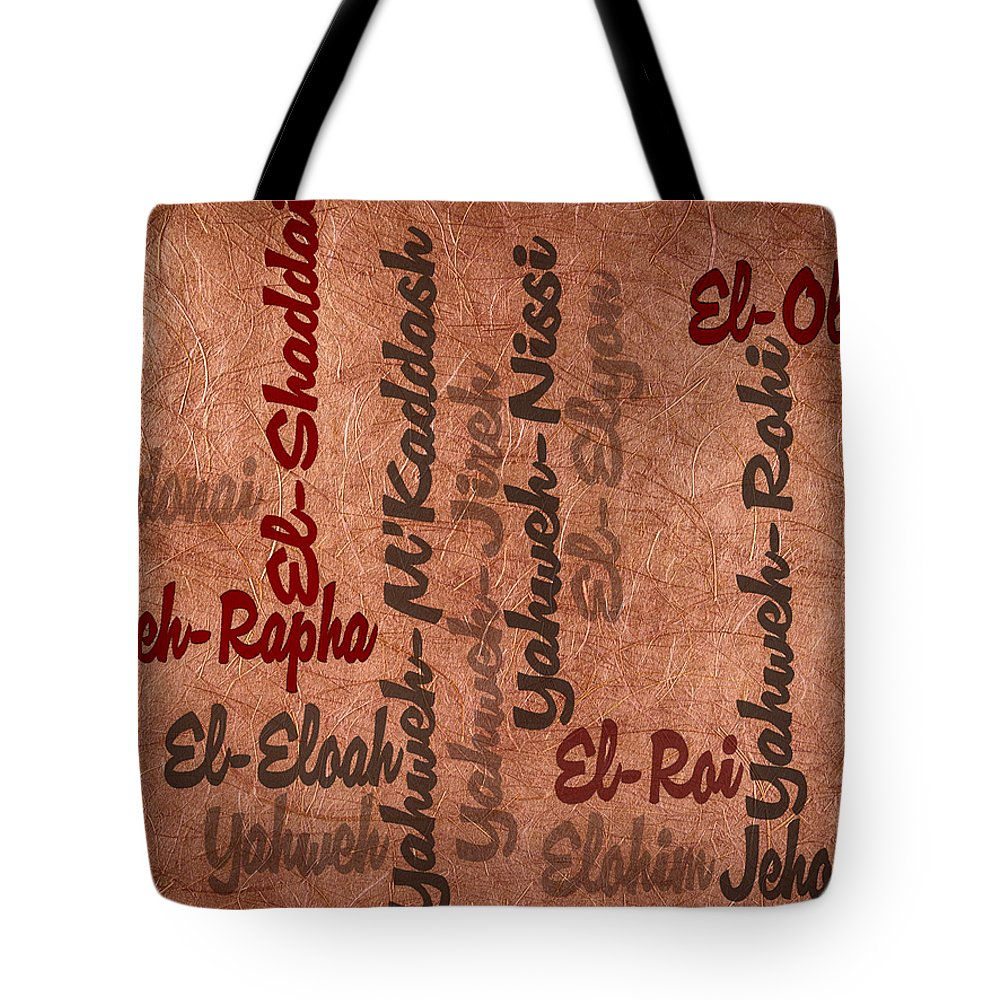 Names Tote Bag featuring the digital art El-olam by Angelina Vick