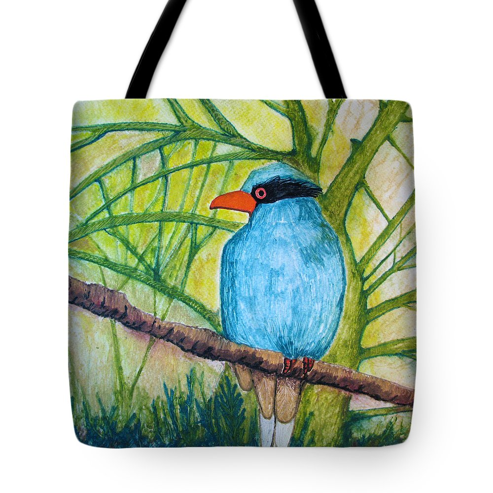 Nature Tote Bag featuring the painting El Pajaro Del Agua Azul by Patricia Arroyo