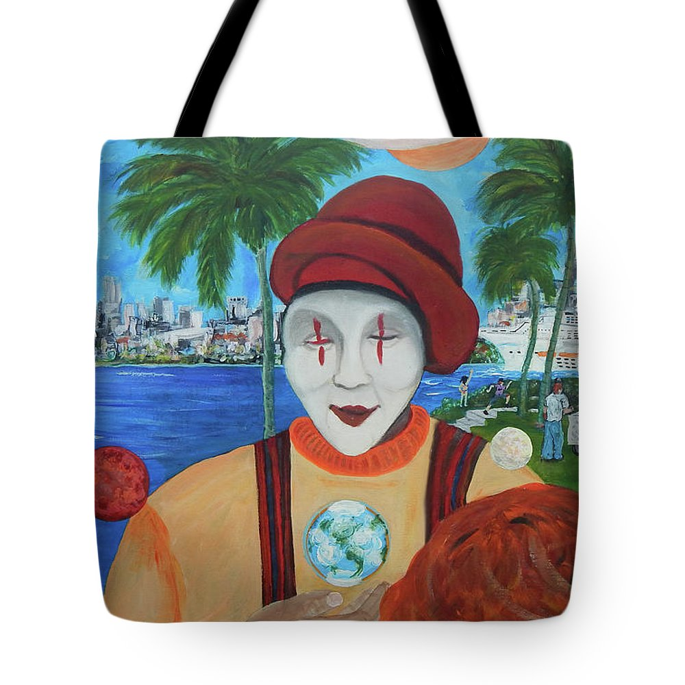 Universe Tote Bag featuring the painting El Payaso Es by Jorge Delara