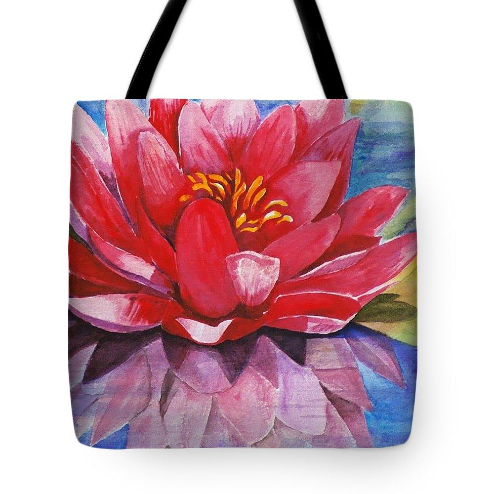Lily Tote Bag featuring the painting Ela Lily by Jun Jamosmos