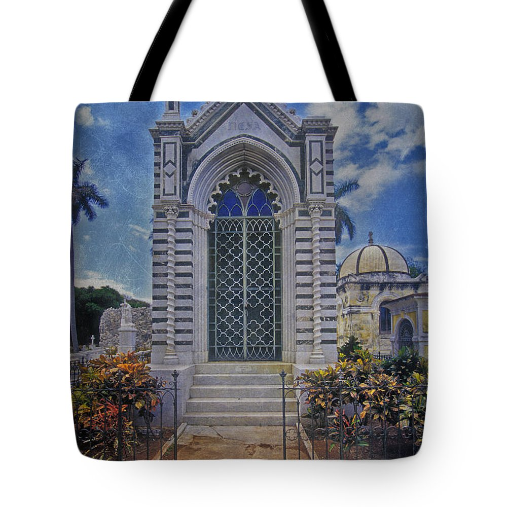 Elaborate Tote Bag featuring the photograph Elaborate Mausoleum Colon Cemetery Havana Cuba Espada Cemetery by David Zanzinger