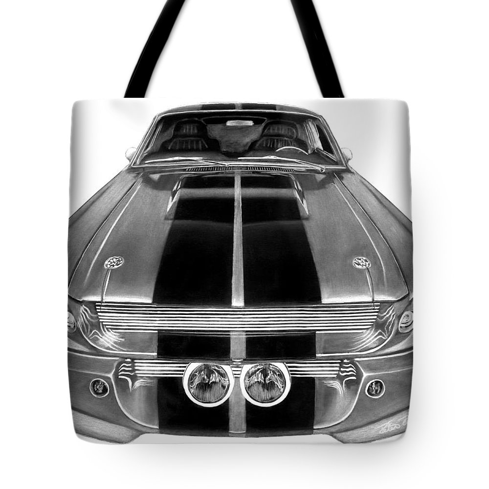 Eleanor Inverted Tote Bag featuring the drawing Eleanor Ford Mustang by Peter Piatt