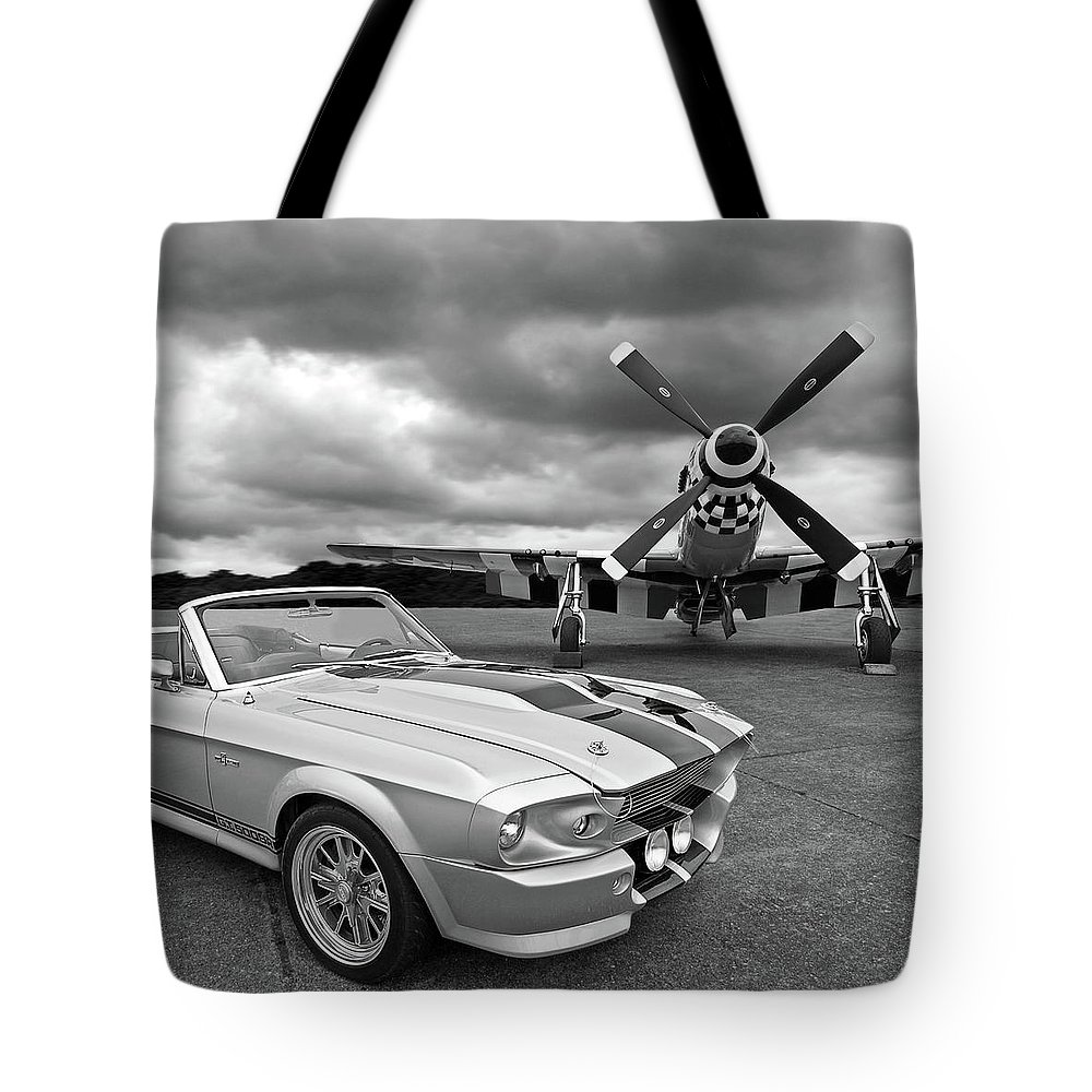 Old Ford Mustang Tote Bag featuring the photograph Eleanor Mustang With P51 Black And White by Gill Billington