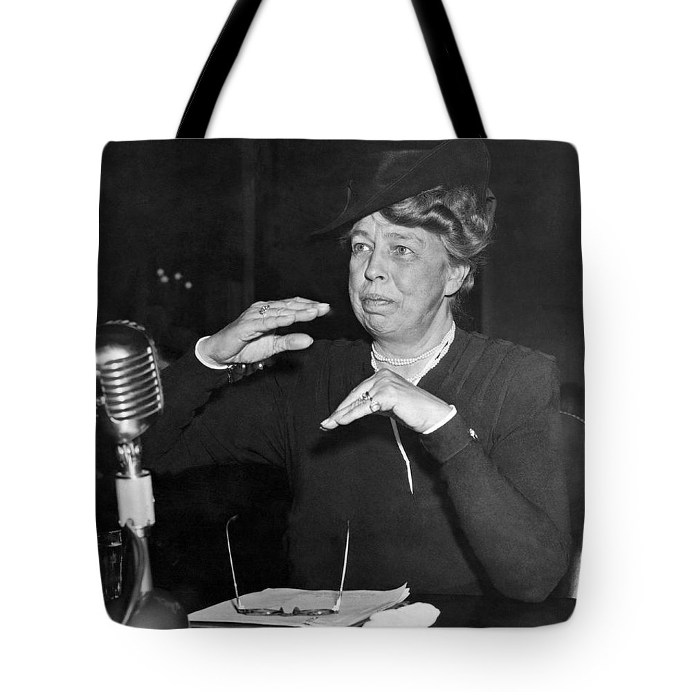1940s Tote Bag featuring the photograph Eleanor Roosevelt At Hearing by Underwood Archives