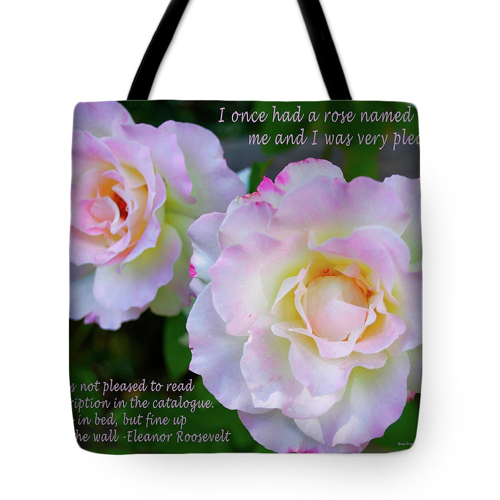 Two Pink Roses Tote Bag featuring the digital art Eleanor Roosevelt Roses by Barbara Snyder