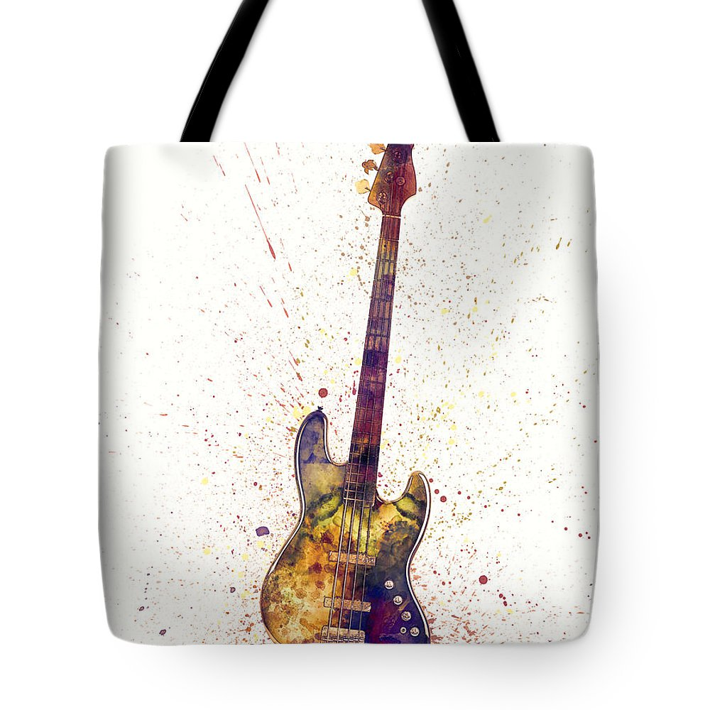 Bass Guitar Tote Bag featuring the digital art Electric Bass Guitar Abstract Watercolor by Michael Tompsett