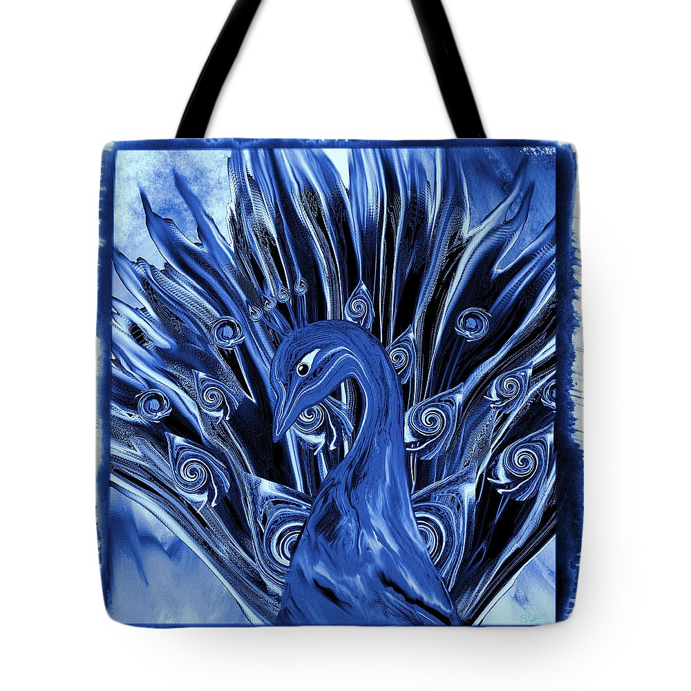 Peacock Tote Bag featuring the digital art Electric Blues Peacock by Abstract Angel Artist Stephen K