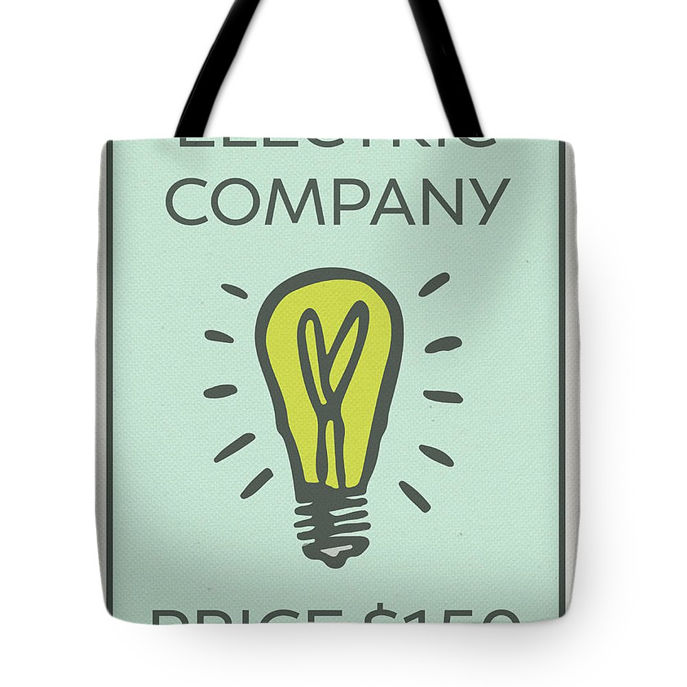 Electric Company Tote Bag featuring the mixed media Electric Company Vintage Monopoly Board Game Theme Card by Design Turnpike