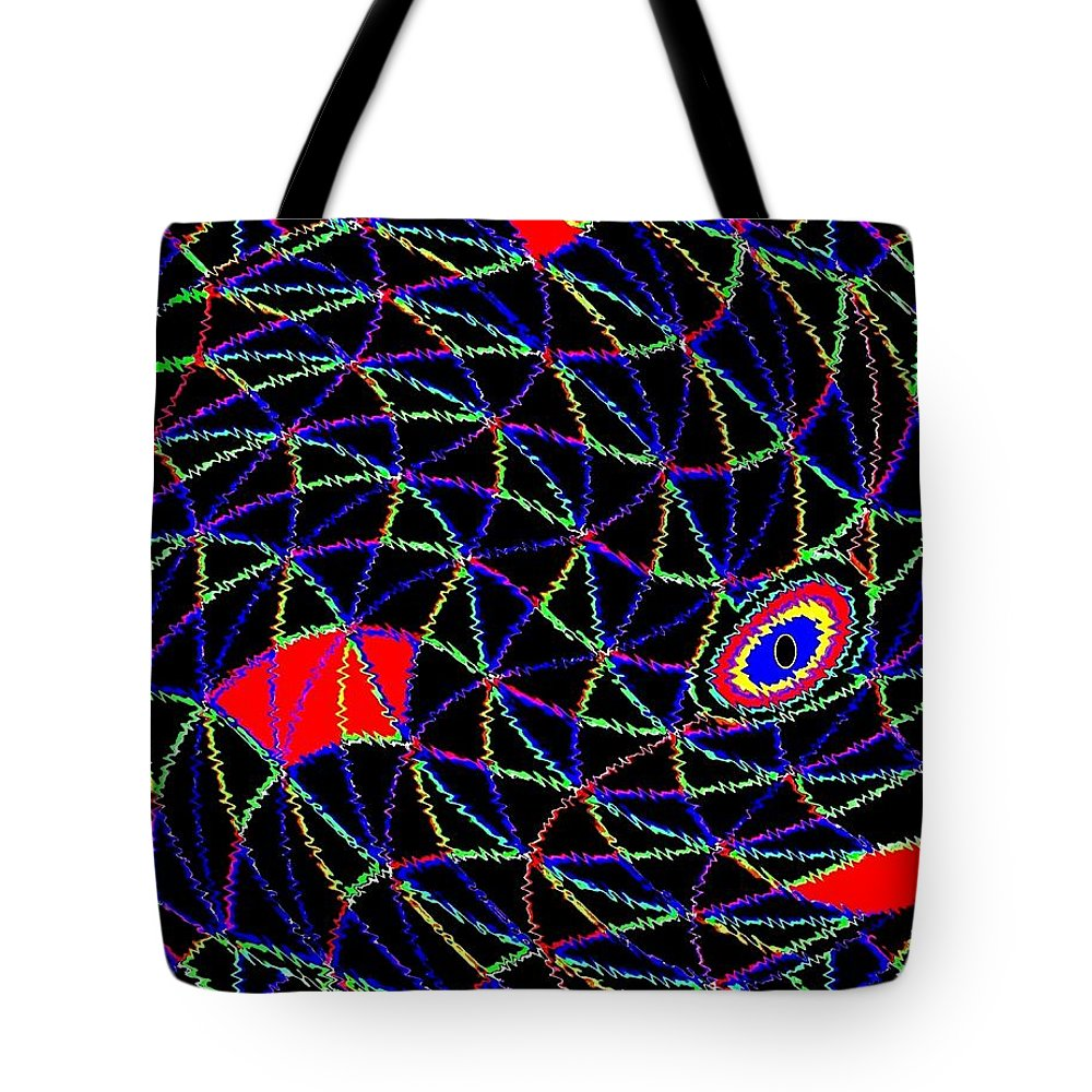 Abstract Tote Bag featuring the digital art Electric Fish by Will Borden