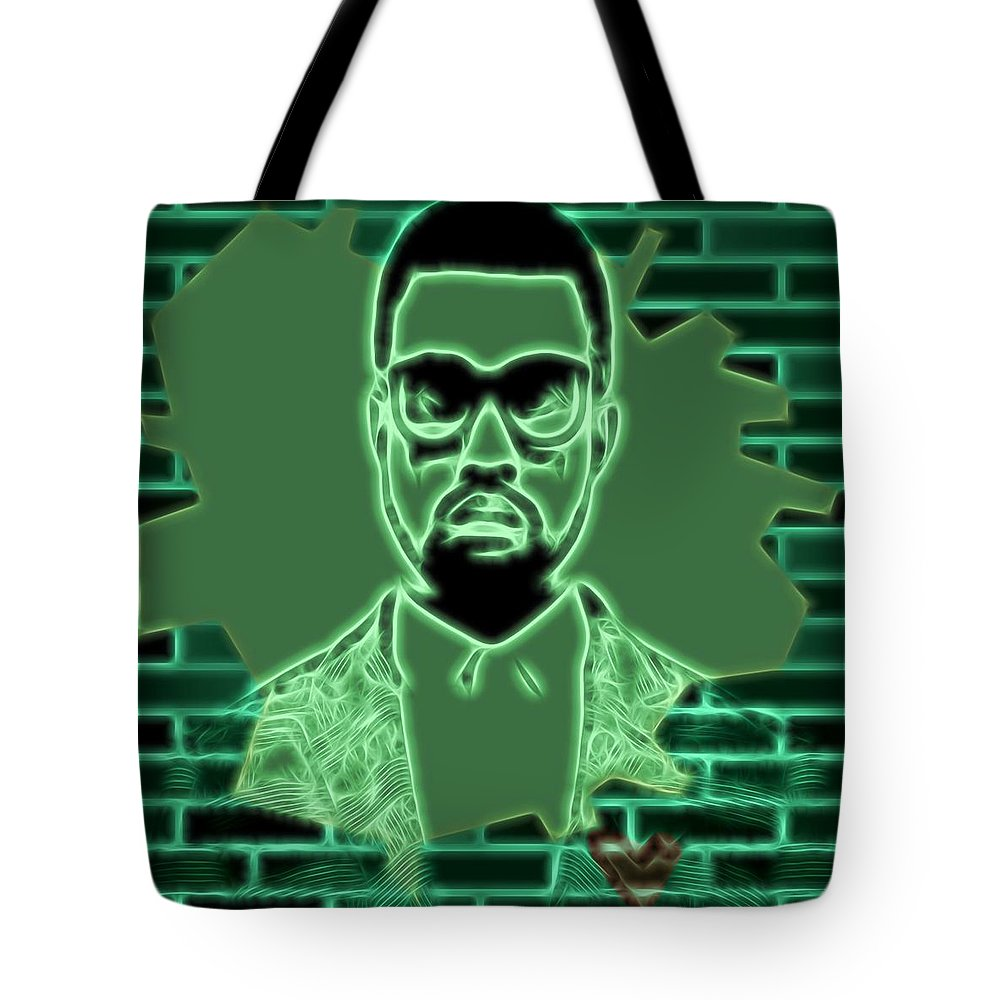 Kanye West Poster Tote Bag featuring the mixed media Electric Kanye West Graphic by Dan Sproul