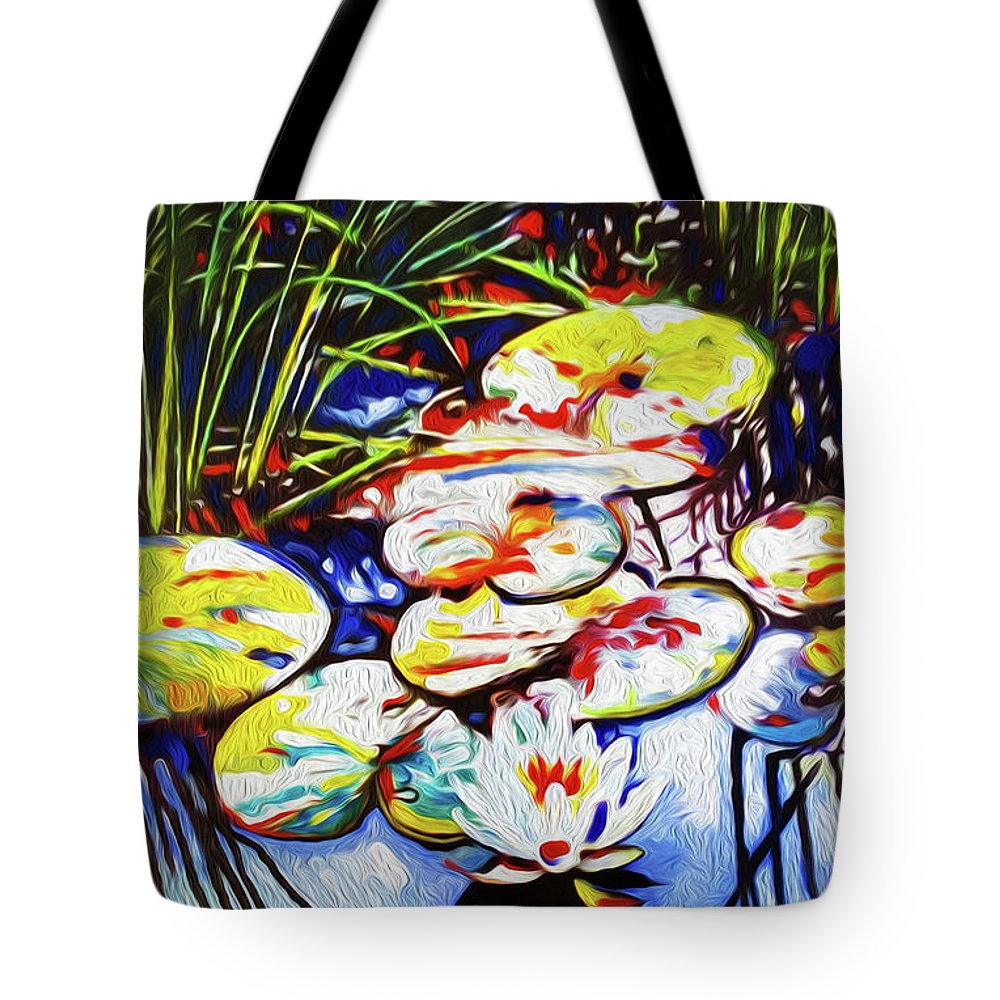 Lilypads Tote Bag featuring the painting Electric Lillypads by Dennis Kirby