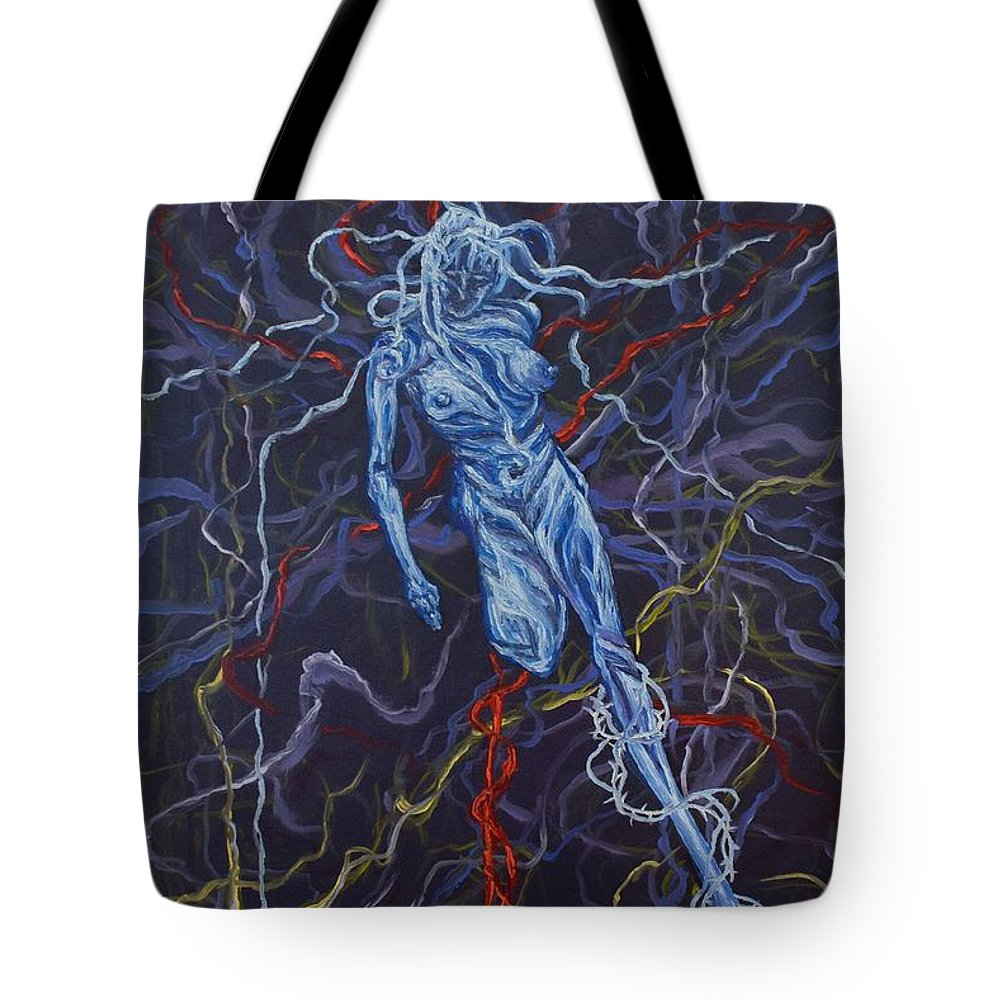 Pain Tote Bag featuring the painting Electric Pain by Judy Henninger