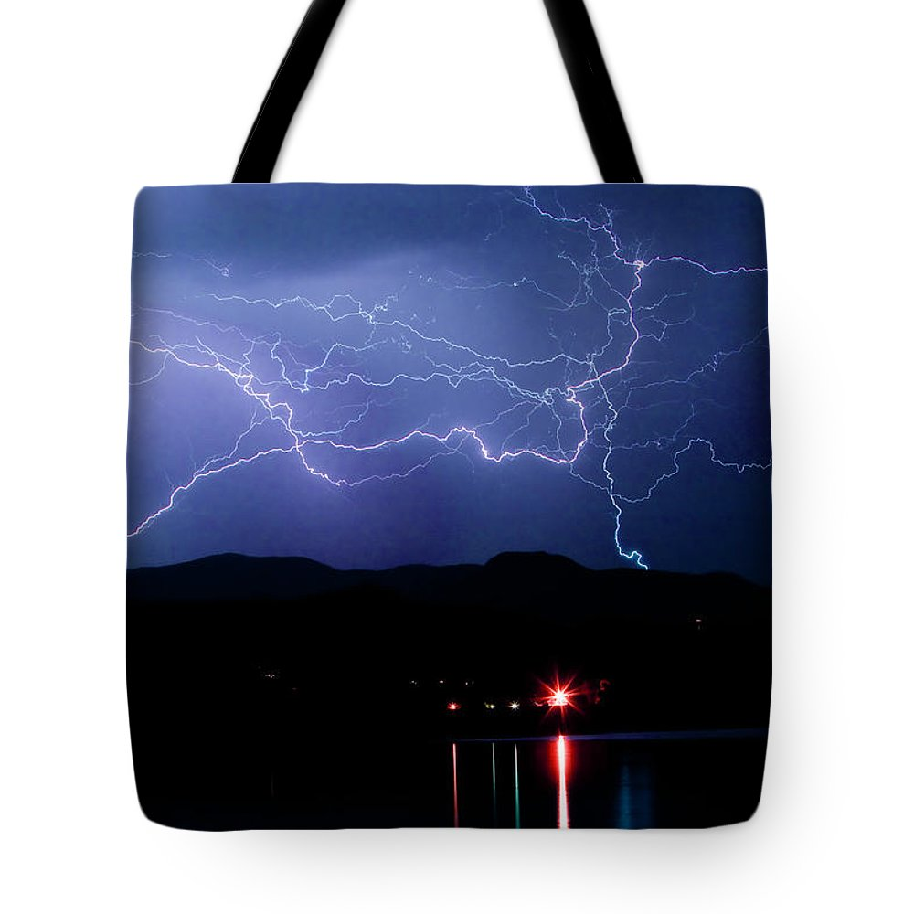 Lightning Tote Bag featuring the photograph Electric Skies by James BO Insogna