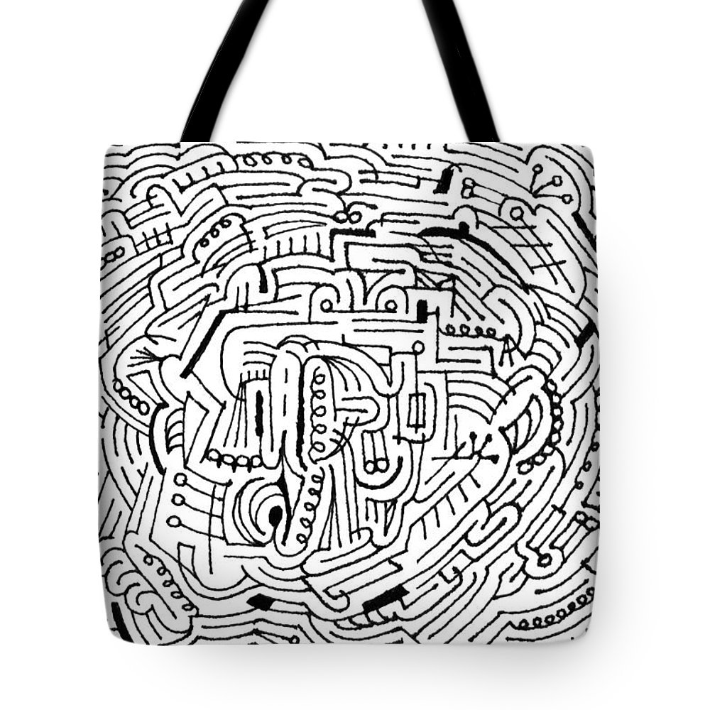 Mazes Tote Bag featuring the drawing Electric by Steven Natanson