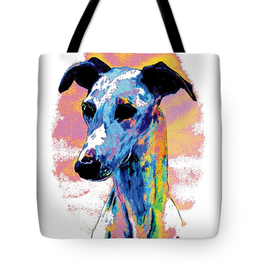 Electric Whippet Tote Bag featuring the digital art Electric Whippet by Kathleen Sepulveda