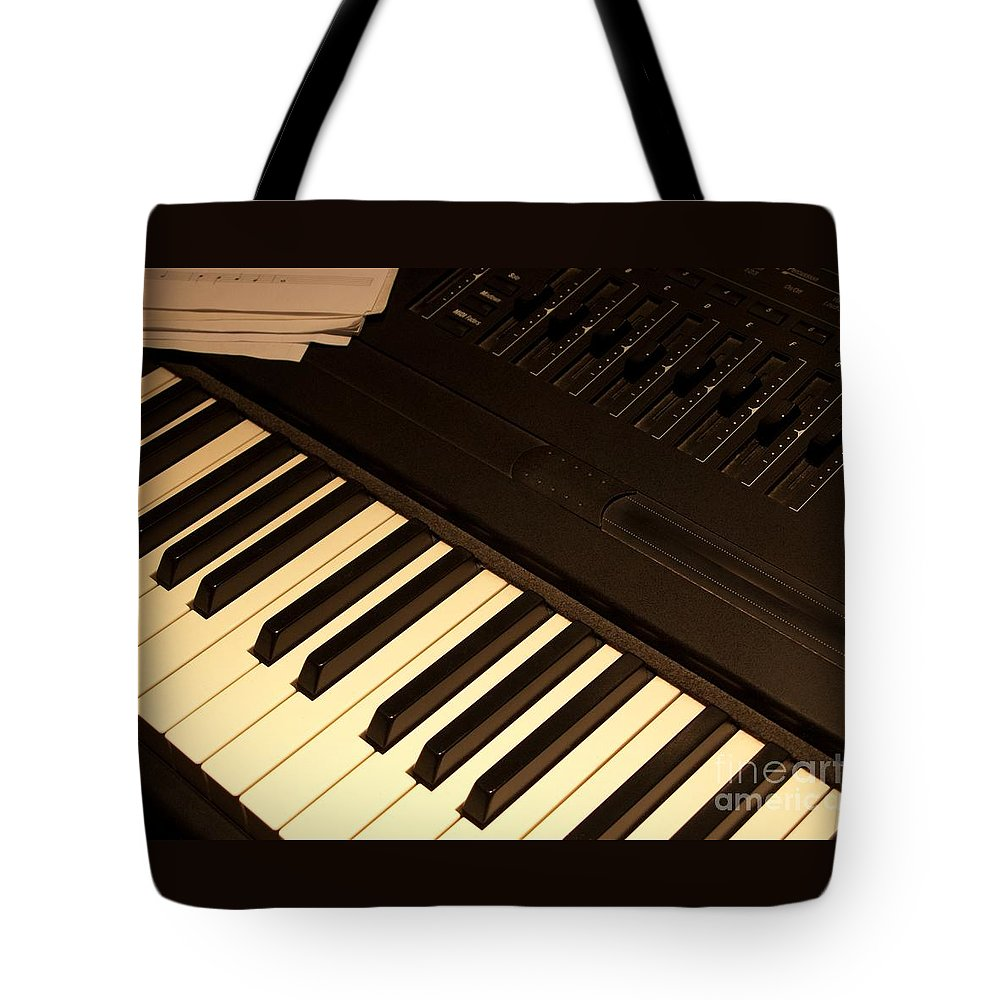 Keyboard Tote Bag featuring the photograph Electronic Keyboard by Ann Horn