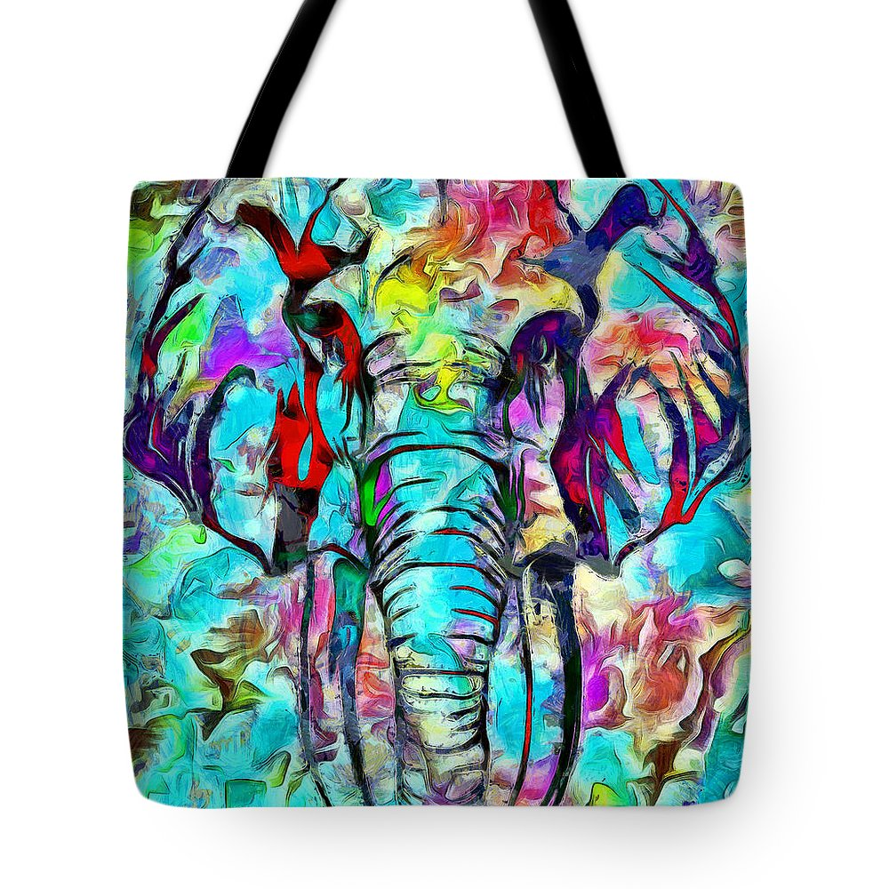 Pintura Digital Tote Bag featuring the digital art Elefante by Galeria Trompiz