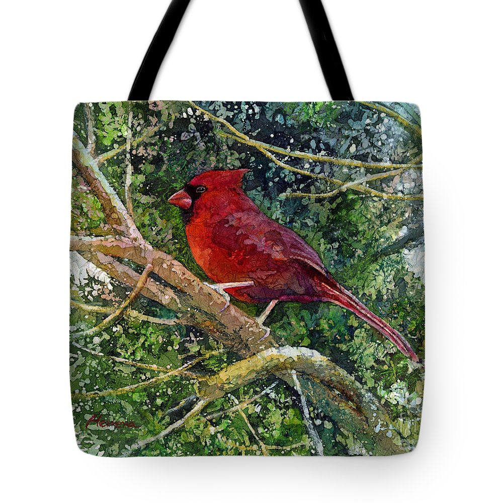 Cardinal Tote Bag featuring the painting Elegance in Red by Hailey E Herrera