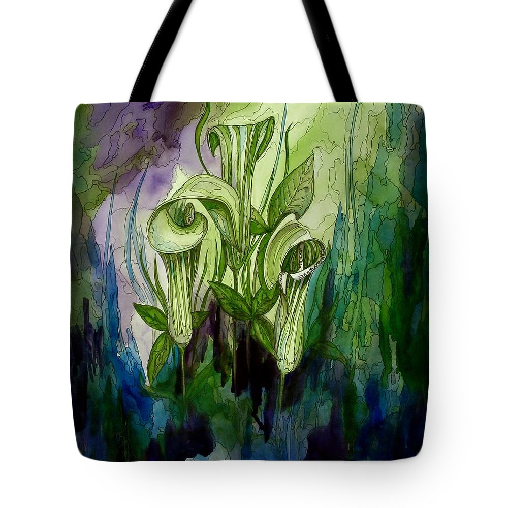 Jack In The Pulpit Tote Bag featuring the painting Elegance In The Woods by Joan Nee